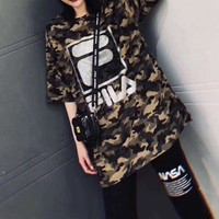 """"""" FILA"""" Women Casual Fashion Letter Camouflage Print Loose Large Size Short Sleeve"""