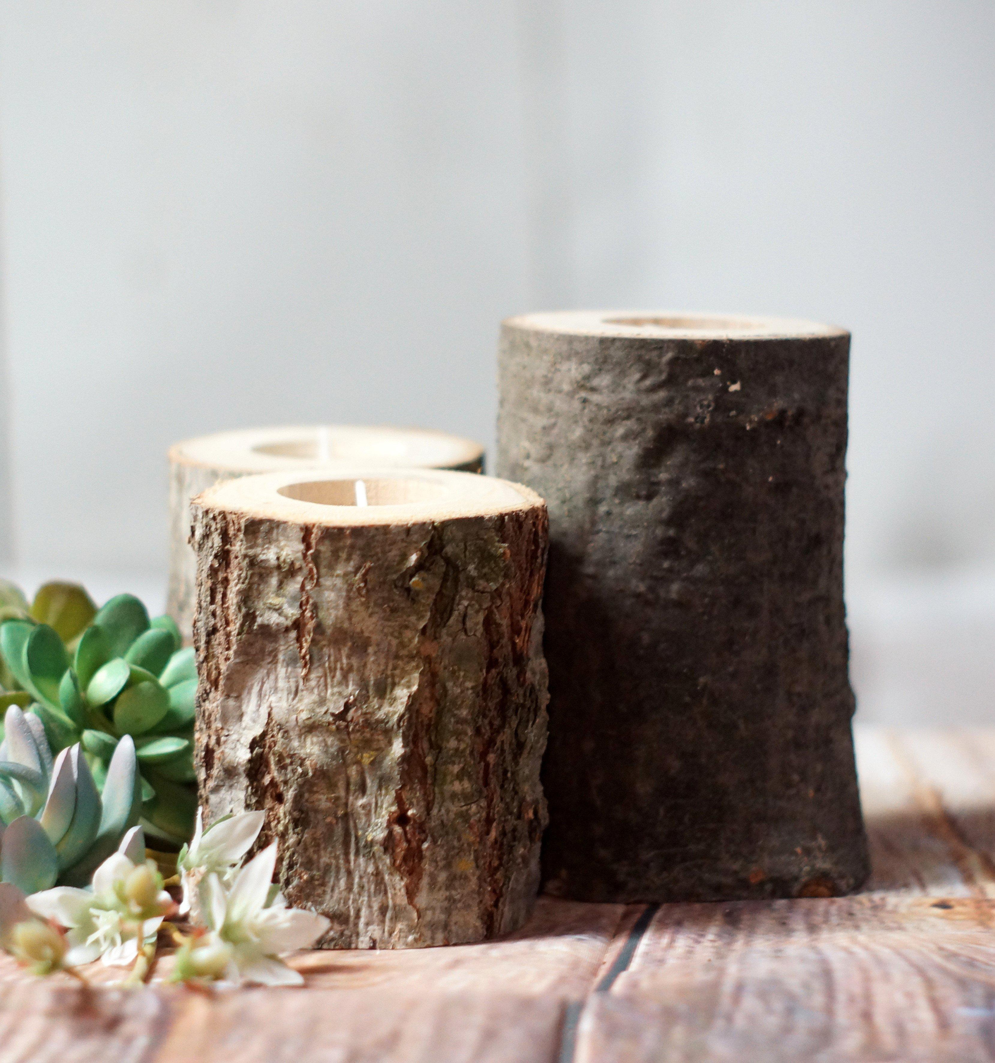 Image of Rustic Log Candle Holder - Rustic Home Decor