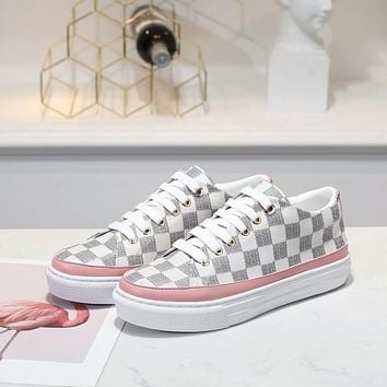 LV Louis Vuitton Women's Leather Sneakers Shoes