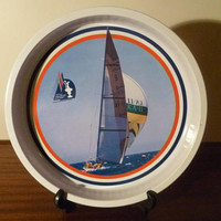 Vintage 1987 R.P.Y.C. America's Cup Metal Drinks Tray in New - Unused Condition / 32 cm Diameter / Kookaburra III