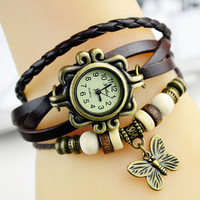 Free DHL genuine leather hand knit vintage watches bracelet wristwatches butterfly pendant free shipping cow leather PL063