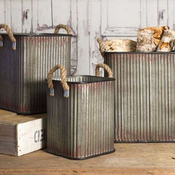 Corrugated Storage Bins - Set of 3