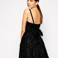 French Connection Glitter Dress With Bow Back