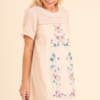 Floral Embroidered Lace Trim Boho Tunic in Natural tones by Umgee