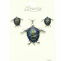 Textured Epoxy Turtle Pin/Pendant and Earrings Set
