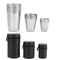 4pcs Stainless Steel Cups Portable Camping Picnic Travel Drinking Water Tea Beer Coffee Cup with Storage Bag Outdoor Tableware
