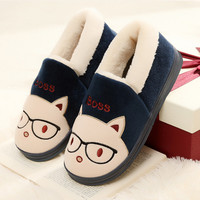 Miss Cat Cartoon Warm Cotton Slippers Men and Women Home Warm Winter TPR Cotton Plush Shoes House Fur Slippers Cats Padded Shoes