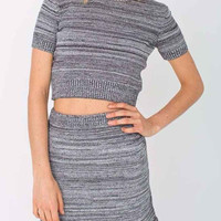 Gray Striped Short Sleeve Knitted Crop Top And  Skirt