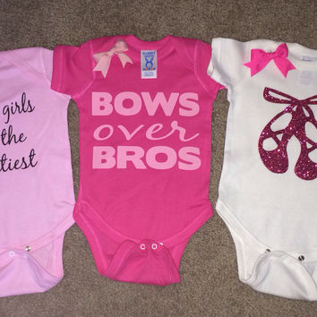 Girl Onesuits -  Body Suit - Glitter  - Onesuit - Ruffles with Love - Baby Clothing - RWL - Ballerina Shoes - Bows over Bros - Happy Girls