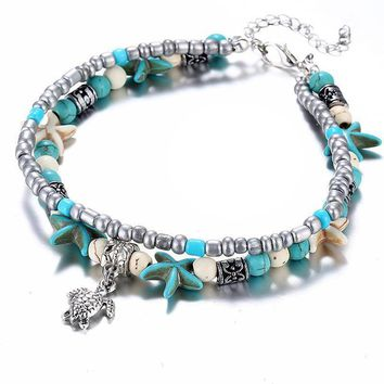 Sea Turtle & Starfish Turquoise Bead Anklet For Woman