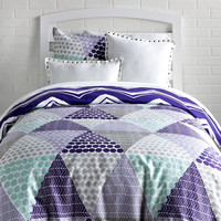Patchwork Prism / Striped Chevron Reversible Duvet Cover and Sham Set
