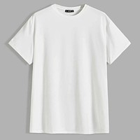 Fashion Casual Men Drop Shoulder Solid Tee