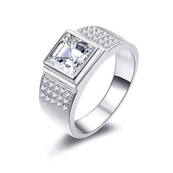 Augustus 2.9CT Square Radiant Crown Cut IOBI Simulated Diamond Men's Ring
