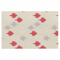"Gukuuki ""Mayan Fish"" Beige Magenta Decorative Door Mat"