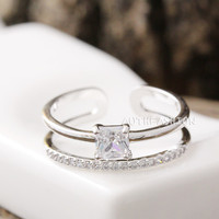 Adjustable Crystal Double Ring Simple Unique Ring Jewelry Gift Idea byr31