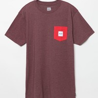 HUF Contrast Pocket Heather Red T-Shirt - Mens Tee - Heather Red