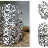Sterling Silver Ring Bali Artisan Jewelry - Lace Bandeau | NOVICA