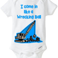 "Funny Baby Boy Gift: Baby shirt Onesuit Snapsuit Onesuit - ""I come in like a Wrecking Ball"" / Miley Cyrus / Pop Culture / Blue"