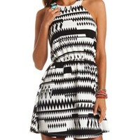 Aztec Print Halter Skater Dress by Charlotte Russe - Ivory Combo