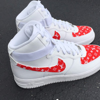 Custom red lv x supreme Air Force ones