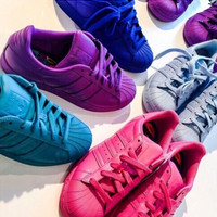 """Fashion Shell-toe """"Adidas"""" Flats Sneakers Sport Shoes Pure color Full color"""
