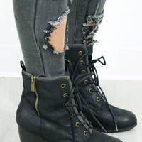Rosewood Black Lace Up Boots