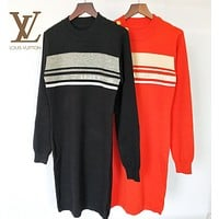 LV Louis Vuitton Autumn Winter Newest Fashion Women Slim Jacquard Long Sleeve Dress