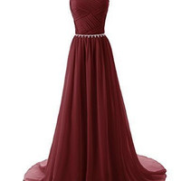 Elegant Long Prom Dresses with Beadings