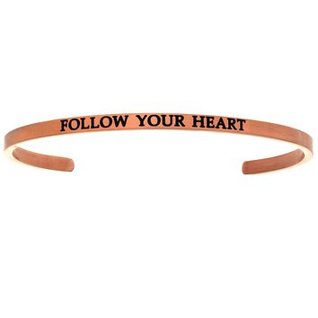 """Intuitions """"Follow Your Heart"""" Pink Stainless Steel Cuff Bangle Bracelet"""