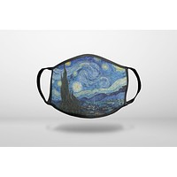 Van Gogh Starry Night - 3-Ply Reusable Soft Face Mask Covering, Unisex, Cotton Inner Layer