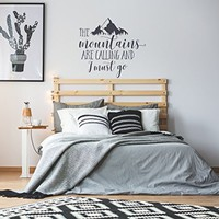 WonderWallzStore The Mountains Are Calling And I Must Go Wall Decal Quote Rustic Home Decor - The Mountains Are Calling Vinyl Wall Signs Inspirational Quotes