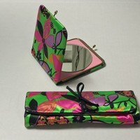 Vintage Glossy Green and Pink Floral Matching Travel Set / Tri-Fold Multi Pocket Cosmetics Organizer / Extra Large Makeup Mirror Compact