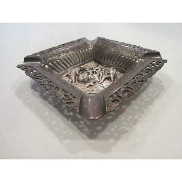 Folk Art Silver Figurative Vintage Ashtray Hallmarks Interior