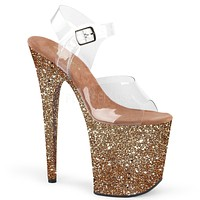 "Flamingo 808LG Rose Gold Hologram Glitter 8"" Heel Clear Strap Platform Shoe"