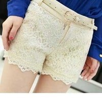 The lace fabric shorts collocation from shopgirl8