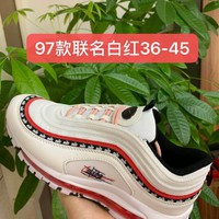 HCXX 19July 959 Nike Air Max 97 Flyknit Breathable Running Shoes White Red
