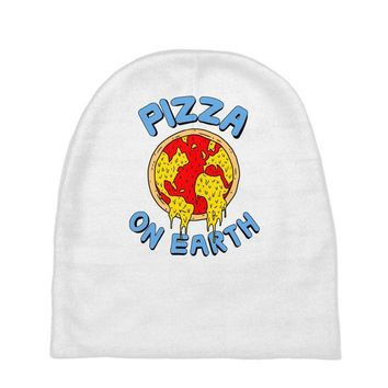 pizza on earth Baby Beanies