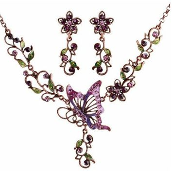 Wedding Party Handmade Vintage Purple Butterfly Necklace and Earrings Jewellery Set