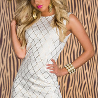 White Shining Square Hot Stamping Bodycon Party Dress