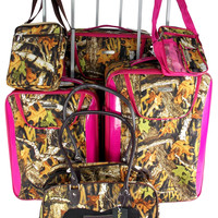 Suitcase Real Tree Camo 6 Pc Travel Set Messenger Gadget Pet Carrier Luggage Lot