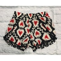 GIRLS Heart Pom Pom Shorts