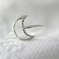 Simple Crescent Moon Ring Silver Gold Plated Jewelry gift idea 7.5 size