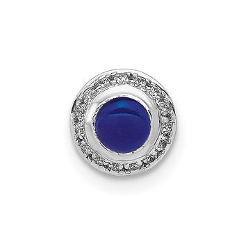 14k White Gold Real Diamond and Cabochon .47 Sapphire Chain Slide