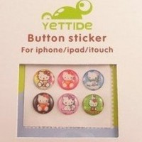 """""""Home"""" Button Sticker for iphone/ipad/itouch,Hello Kitty Series4,Six Stickers"""