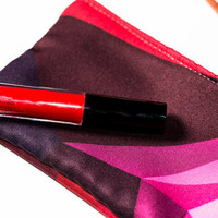 Graphic Pencil Case, Makeup Bag, Pink and Red Geometric Pencil Case, Small Gift