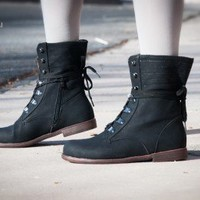 Blossom Cana-16 Round Toe Lace Up Fold over Cuff Ankle Boot (BLK) - Shoes 4 U Las Vegas