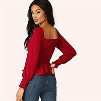 Burgundy Shirred Cuff Button Front Peplum Solid Ladies Tops Bishop Sleeve Slim Fit Elegant Womens Tops And Blouses