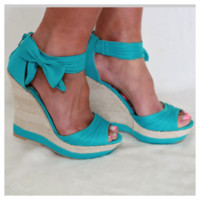 Bow Side Wedges: Turquoise