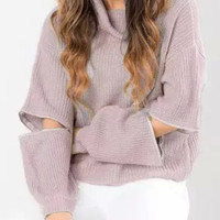 Turtleneck Long Sleeves Pure Color Zipper Design Sweater