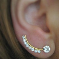 Ear Sweep Wrap - Cuff Earring with Swarovsky - Gold Filled- Nr.3